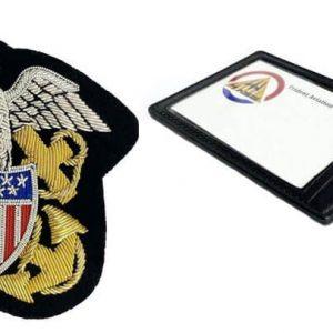 USN Officer Crest & Leather Pocket Clip Set
